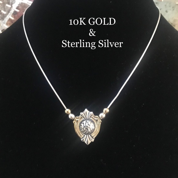10K GOLD AND 925 STERLING SILVER PENDANT NECKLACE